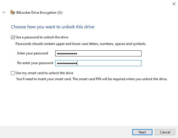 BitLocker add your password