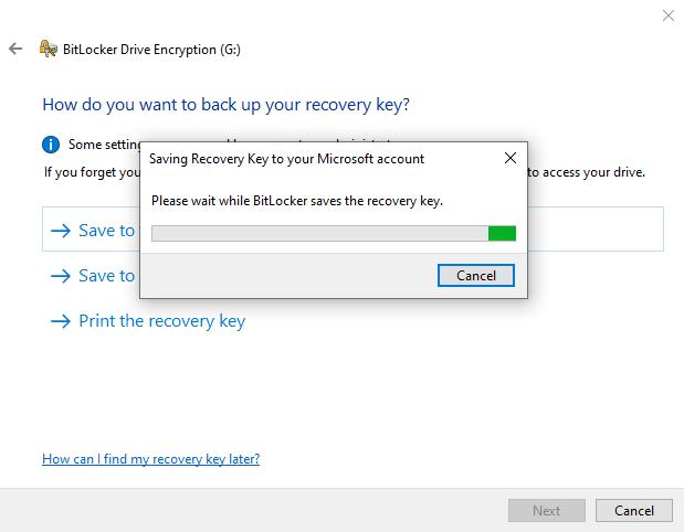 BitLocker saving recovery code